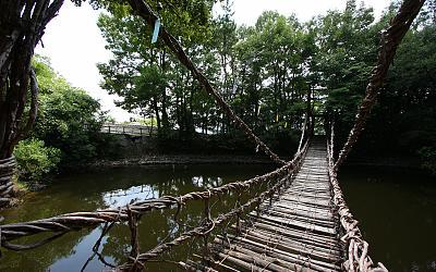 Rickity bridge on the island.
