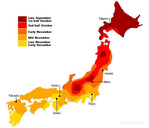 Autumn Leaves In Japan When Do Trees Turn Colors - Japan map 2017