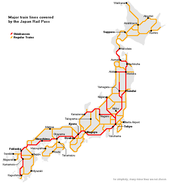 Japan Rail Pass JR Pass - Japan map rail