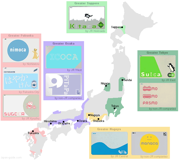 Cards With Subway Map.Prepaid Ic Cards In Japan Suica Pasmo Icoca